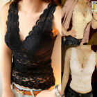 Women Lace T-shirt Vest Camisole Sleeveless Slim V-Neck Tank Top Blouse Tee Tops