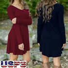 1PC Women Autumn Winter Casual Long Sleeve Evening Party Short Mini Dress V-Neck