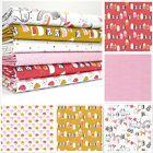 FOX GROVE - FOXES HOUSE FLORAL PINK YELLOW  cotton fabric METRE OR BUNDLE