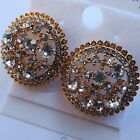 ROUND VINTAGE STYLE 50s 60s DIAMANTE STUDDED FLAT BUTTON EARRING GOLD/SILVER new