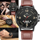 Hannah Martin Men Army Date Leather Stainless Steel Sport Quartz Wrist Watch Hot