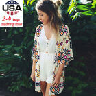 Women Boho Geometry Printed Chiffon Shawl Kimono Cardigan Tops Cover up Blouse