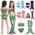 Cut Kids Girls Swimmable Mermaid Tail Bikini 3pcs Set Swimming Costume Swimsuit