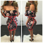 Womens Celebrity Floral Tropical Print Ladies Bodycon Pencil Midi Dress Party