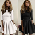 Fashion Women Lady 3/4 Sleeve 3 Layers Wave Party Evening Clubwear Mini Dress