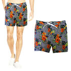 Brave Soul Mens Ford Designer Striped Flower Print Swimming Trunks Beach Shorts