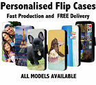 Personalised flip wallet phone case cover for iPhone 5SE 7 6S 7+,Galaxy S6 S7 S8
