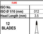 10 Burs 12 BLADE TRIMMING & FINISHING CARBIDE 7102, Made in Canada, Best Quality