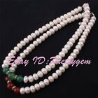 "6x10mm White Freshwater Pearl 10-12mm Round Agate Necklace 15-17"" Adjustabe Size"