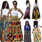 Women's African Floral Print Maxi Skirts A Line Long Skirts With Pocket