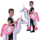 Kids Riding Unicorn Fancy Dress Ride On Fairytale Winged Animal Step In Costume