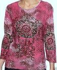 Jane Ashley Center Womens Medallion Printed 3/4 Sleeve Shirt Top Blouse S M L XL