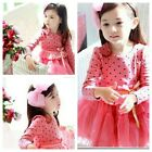 Kids Easter Pink Polkadots Wedding Party Flowers Girls Dresses SIZE 2,3,4,5,6,7T