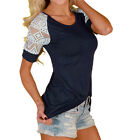 UK Fashion Ladies Summer Blouse Womens Casual Tops Lace T-Shirt Tee Short Sleeve