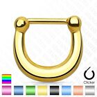 New Plain Polished Titanium Anodised Surgical Steel Nose Septum Clicker 16g