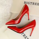Wet Look Stiletto Shallow High Heel Pointed Toe Pump Solid Work OL Womens Shoes