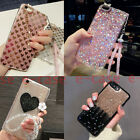 For Apple iPhone Bling Glitter Heart Chain Crystal Lovely Pendnat TPU Case Cover