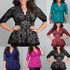 Plus Size Peplum Womens V Neck Lace Shirt Scalloped T-shirt Top Blouse XL-5XL