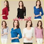 Womens 100% Pure Silk Knitted V Collar Tops Seven Quarter Sleeve T Shirts Blouse