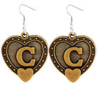 A041 Letter C love heart Earrings U pick iron or Stainless Steel hook&circle New