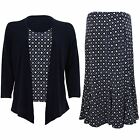 Women's Flare Lined Skirt Long Sleeve Diamond Floral Waterfall Cardi Top 2 Piece