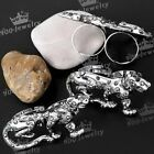 Retro Antique Silver Leopard Animal Crystal Adjust Double Finger Tail Punk Ring