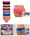 Valentine's Day Pack LOT Women Sexy Heart Lace Cotton Lace Bikini Panty S/M/L/XL