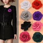 Women Lady Camellia Flower Pins Brooches Fabrics Craft Cloth Jewelry Accessories