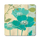 Teal Poppy - Oversized Rubber Coasters Set of 4 or 6