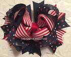 """Red White Navy Stars Stripes Patriotic 4th of July Hair Bow 5"""""""