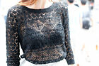 C clothing ronson - NWT PINK ROSE Black Cotton Blend Crochet Lace Knit Round Neck Sweater Size M $49
