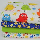 MONSTERS, 4 Piece Childrens Fabric Bundle,100% Cotton Fabric, by Robert Kaufman