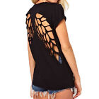 Fashion Women Backless T-shirt Hollow Back Angel Wings Crew Neck Tee Tops Blouse