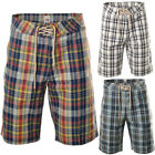 Mens Designer Check Plaid Casual Summer Zip Fly Beach Shorts Size
