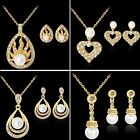 Fashion Women Wedding Bridal Pearl Filled Crystal Necklace Earrings Jewelry Set