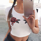 Women Summer Flower Crop Tops Embroidered Rose T-Shirt Casual Tee Tops Blouse