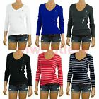 NWT Polo Ralph Lauren WOMENS V-Neck Long Sleeve Fitted Shirt Top