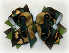 Camo Boutique Hair Bow Camoflage Toddler Baby Hairbow Army Green Brown USA Big