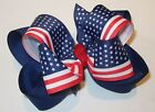 American Flag Boutique Hair Bow Patriotic Stripes Stars