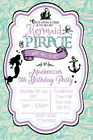 Personalised Mermaid and Pirates Birthday Party Invites inc envelopes MP3