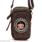Betty Boop brown suede rhinestone cross shoulder cell Iphone bag circle case $13.99 USD