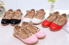 Kids/Girls Party Ankle Studded Sandals/Rivet /Red Shoes/ Flat Leather US Size