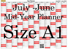 Red  Fade A1 Landscape planner July - June Wall Calendar Choice of Years (1106)