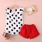 Adorable Toddler Kids Girls Clothes Dot Tops Shirt Red Shorts Outfits Set 1-6Y
