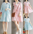 womens embroidery plus size cotton Lolita loose Casual blouses shirt style dress