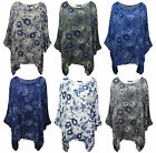 New Ladies Italian Floral Print Batwing Lagenlook Loose Fit Kimono Top Size 8-22