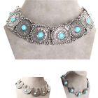 Classic Choker Collar Necklace Silver Tone Turquoise Carved Metal Chain Link