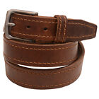 Mens 1 3/8 Walnut Re-Tanned Leather Belt Brown Stitching Natural Edge