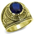 Stainless Steel Men's Gold IP US Navy Military Sapphire Blue Ring Sizes 8 - 14