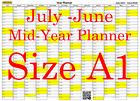 Yellow A1 Landscape planner July -June Wall Calendar Choice of Years (1117)